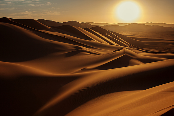 Sunset on the desert, a transformational time.